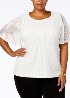 Charter Club Plus Size Lace Flutter-Sleeve Top, Created for Macy's