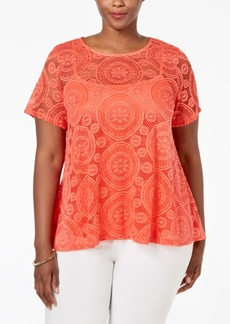 Charter Club Plus Size Lace Swing Top, Only at Macy's