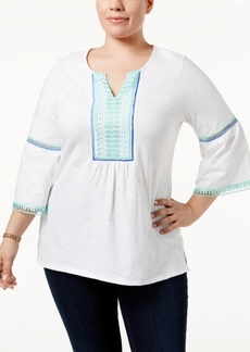 Charter Club Plus Size Lace-Trim Top, Only at Macy's