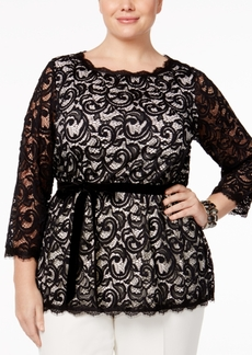 Charter Club Plus Size Lace Top, Only at Macy's