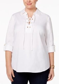 Charter Club Plus Size Lace-Up Top, Only at Macy's