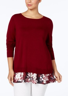 Charter Club Plus Size Layered-Look Sweater, Created for Macy's