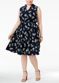Charter Club Plus Size Lemon-Printed Fit & Flare Shirtdress, Created for Macy's