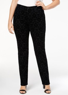 Charter Club Plus Size Lexington Patterned Tummy-Control Jeans, Created for Macy's