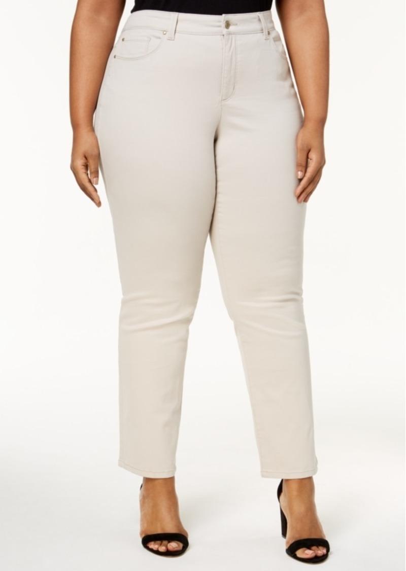 29f8159d402 Charter Club Plus Size Lexington Tummy-Control Colored Wash Straight-Leg  Jeans