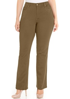 Charter Club Plus Size Lexington Tummy-Control Colored Wash Straight-Leg Jeans, Only at Macy's