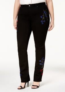 Charter Club Plus Size Lexington Tummy-Control Embroidered Straight-Leg Jeans, Created for Macy's