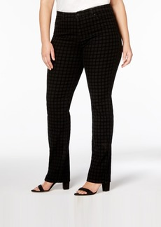 Charter Club Plus Size Lexington Tummy-Control Flocked Straight-Leg Jeans, Created for Macy's