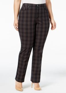 Charter Club Plus Size Lexington Tummy-Control Plaid Pants, Only at Macy's