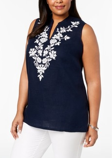Charter Club Plus Size Linen Embroidered Tunic, Created for Macy's