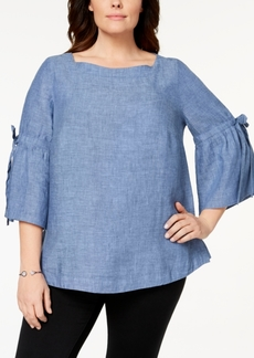 Charter Club Plus Size Linen Lantern-Sleeve Top, Created for Macy's