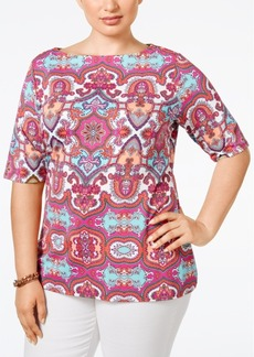 Charter Club Plus Size Medallion-Print Boat-Neck Top, Only at Macy's