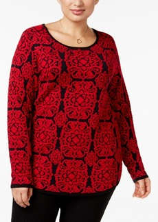 Charter Club Plus Size Medallion Sweater, Only at Macy's