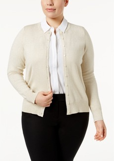 Charter Club Plus Size Metallic-Knit Cardigan, Created for Macy's