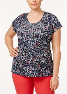 Charter Club Plus Size Metallic Pintucked Top, Only at Macy's