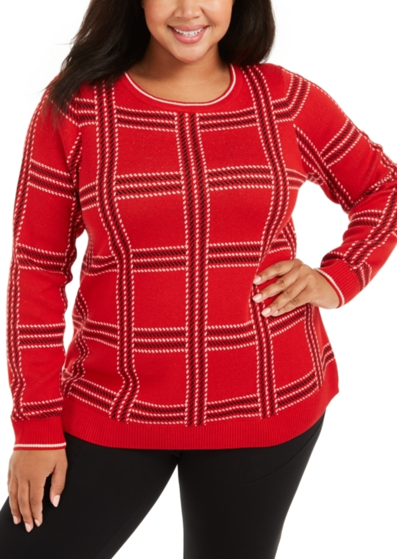 Charter Club Plus Size Metallic Plaid Sweater, Created For Macy's
