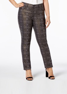 Charter Club Plus Size Metallic-Print Skinny Jeans, Created for Macy's