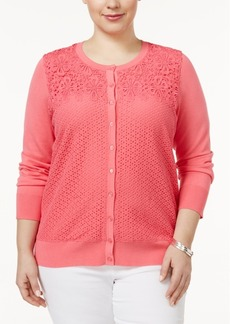 Charter Club Plus Size Mixed-Lace Cardigan, Only at Macy's