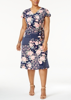 Charter Club Plus Size Mixed-Print Fit & Flare Dress, Only at Macy's