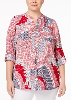 Charter Club Plus Size Mixed-Print Shirt, Only at Macy's