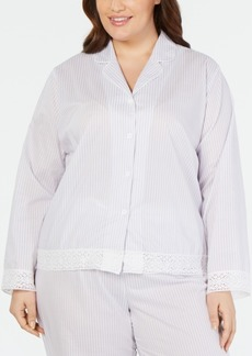 Charter Club Plus Size Notch Collar Pajama Top, Created for Macy's