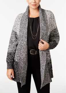 Charter Club Plus Size Open-Front Colorblocked Cardigan, Only at Macy's
