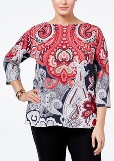 Charter Club Plus Size Paisley-Print Boat-Neck Top, Only at Macy's