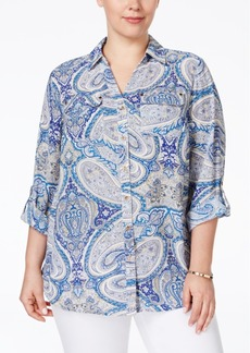 Charter Club Plus Size Paisley-Print Button Down Blouse, Only at Macy's