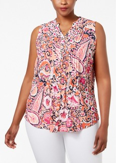 Charter Club Plus Size Paisley-Print Pintucked Blouse, Only at Macy's