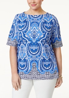 Charter Club Plus Size Paisley-Print Top, Only at Macy's