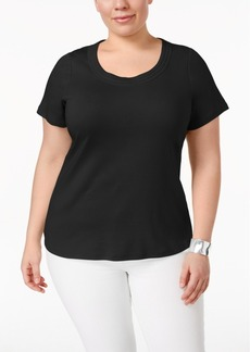 Charter Club Plus Size Pima Cotton Scoop-Neck T-Shirt, Only at Macy's