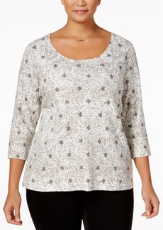 Charter Club Plus Size Pima Cotton Snowflake-Print Top, Only at Macy's