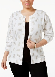 Charter Club Plus Size Pineapple-Print Cardigan, Only at Macy's