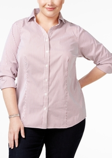 Charter Club Plus Size Pinstriped Button-Down Shirt, Only at Macy's