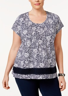 Charter Club Plus Size Pintucked Floral-Print Top, Only at Macy's
