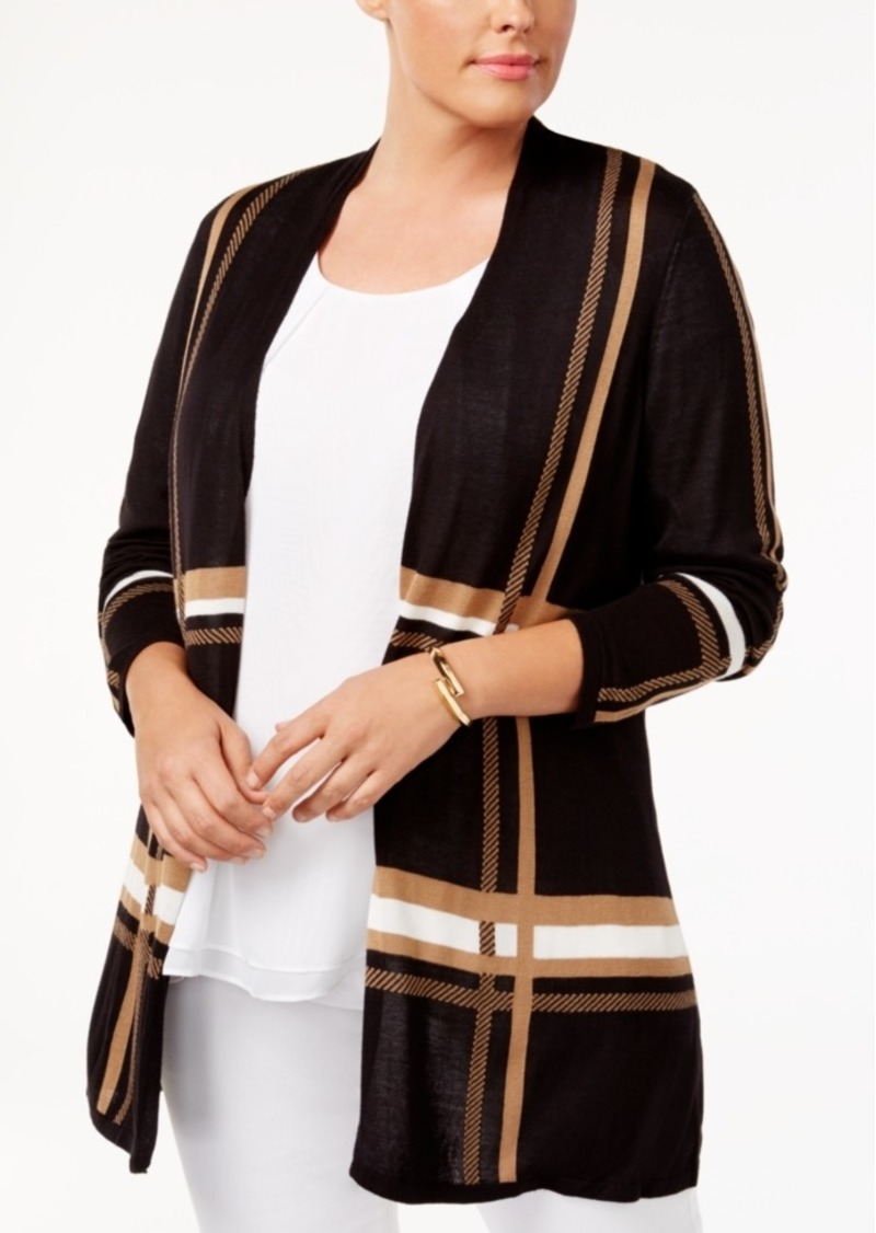 Charter Club Plus Size Plaid Cardigan, Created for Macy's