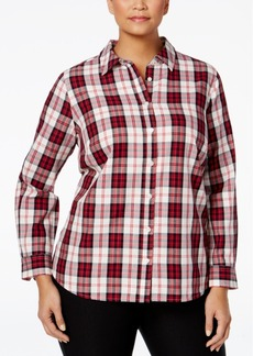 Charter Club Plus Size Plaid Shirt, Only at Macy's
