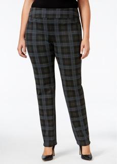 Charter Club Plus Size Cambridge Plaid Ponte Slim-Leg Pants, Only at Macy's