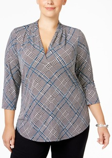 Charter Club Plus Size Plaid Top, Only at Macy's