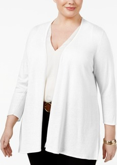 Charter Club Plus Size Pleated-Back Cardigan, Only at Macy's