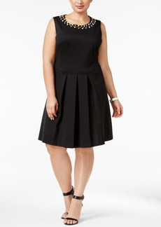 Charter Club Plus Size Pleated Fit & Flare Dress, Only at Macy's