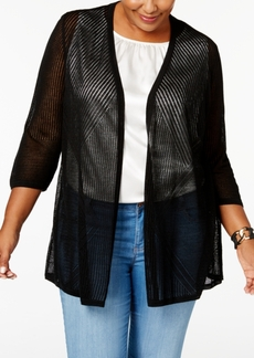 Charter Club Plus Size Pointelle Cardigan, Created for Macy's