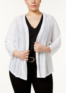 Charter Club Plus Size Pointelle-Knit Cardigan, Only at Macy's