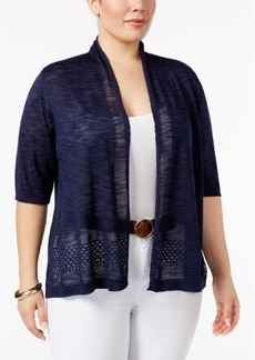 Charter Club Plus Size Pointelle-Trim Cardigan, Only at Macy's