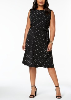 Charter Club Plus Size Polka-Dot A-Line Dress, Created for Macy's