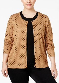 Charter Club Plus Size Polka-Dot Cardigan, Only at Macy's