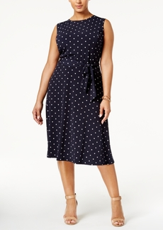 Charter Club Plus Size Polka-Dot Fit & Flare Dress, Only at Macy's