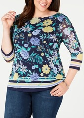 Charter Club Plus Size Printed 3/4-Sleeve Top, Created for Macy's