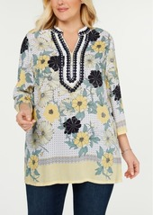 Charter Club Plus Size Printed Applique Tunic, Created for Macy's