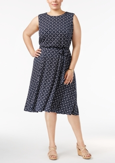 Charter Club Plus Size Printed Belted Dress, Created for Macy's